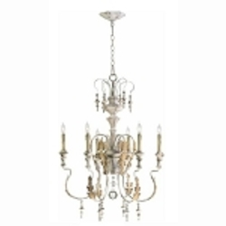 "Motivo 6-Light 31"" Persian White Wrought Iron Chandelier with Glass Details 04170"