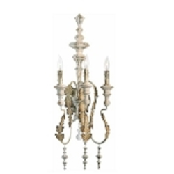 "Motivo 3-Light 29"" Persian White Wrought Iron Wall Sconce with Glass Details 04171"