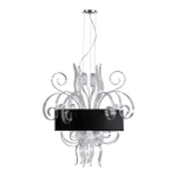 "Jellyfish 8-Light 39"" Clear Blown Glass Cassina Pendant with A Black Dupioni Shade 04394"