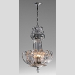 "Florence 4-Light 33"" Clear Blown Glass Pendant Chandelier 04620"