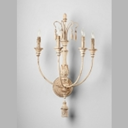 "Maison Collection 4-Light 30"" Persian White Wrought Iron Wall Sconce with Wood 04636"