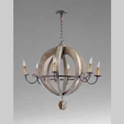 "Barrel 6-Light 32"" Stained Wood Chandelier with Wood 04703"