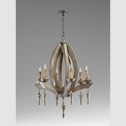 "Manning 6-Light 36"" Stained Wood Chandelier with Wood 04704"