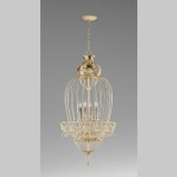 "Bird Cages Collection 4-Light 27"" Persian White Wrought Iron Pendant 04755"