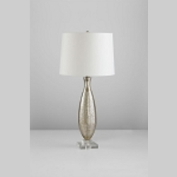 "Mercury 1-Light 33"" Golden Crackle Glass Table Lamp with White Silk Shade 04823"
