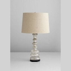 "Luxe 1-Light 30"" Golden Crackle Glass Table Lamp with Oatmeal Cotton Shade 04825"