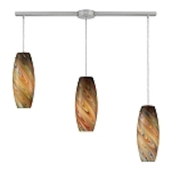 "Vortex Collection 3-Light 36"" Linear Pendant with Rainbow Blown Glass 10079/3L-RV"