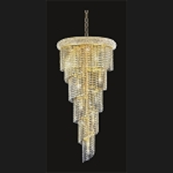 Spiral Design 18-Light 48'' Gold or Chrome Chandelier with European or Swarovski  Crystals SKU# 10144