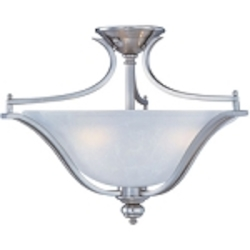"Madera Collection 3-Light 20"" Satin Silver Semi-Flush with Ice Glass Shade 10171ICSS"