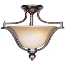 "Madera Collection 3-Light 20"" Oil Rubbed Bronze Semi-Flush with Wilshire Glass Shade 10171WSOI"