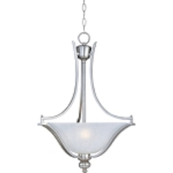 "Madera Collection 3-Light 25"" Satin Silver Pendant with Ice Glass Shade 10173ICSS"