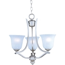 "Madera Collection 3-Light 20"" Satin Silver Chandelier with Ice Glass Shade 10174ICSS"