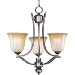 "Madera Collection 3-Light 20"" Oil Rubbed Bronze Chandelier with Wilshire Glass Shade 10174WSOI"