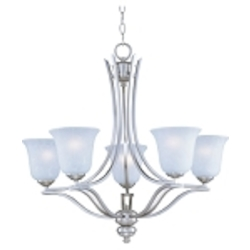 "Madera Collection 5-Light 26"" Satin Silver Chandelier with Ice Glass Shade 10175ICSS"