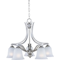 "Madera Collection 5-Light 25"" Satin Silver Chandelier with Ice Glass Shade 10176ICSS"