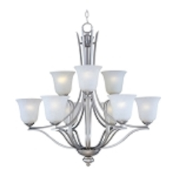 "Madera Collection 9-Light 32"" Satin Silver Chandelier with Ice Glass Shade 10177ICSS"