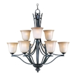 "Madera Collection 9-Light 32"" Oil Rubbed Bronze Chandelier with Wilshire Glass Shade 10177WSOI"