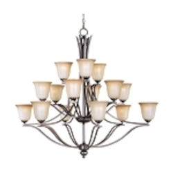 "Madera Collection 15-Light 46"" Oil Rubbed Bronze Chandelier with Wilshire Glass Shade 10178WSOI"