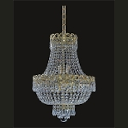 Empire Design 8-Light 20'' Chrome or Gold Mini Chandelier with European or Swarovski Spectra Crystal Strands  SKU# 10188