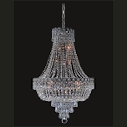 Empire Design 12-Light 26'' Gold or Chrome Chandelier with European or Swarovski Spectra Crystal Strands  SKU# 10189