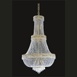 Empire Design 17-Light 48'' Gold or Chrome Chandelier with European or Swarovski Spectra Crystal Strands  SKU# 10191