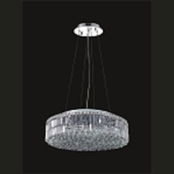 "Ibiza Design 12-Light Round 28"" Hanging Pendant Chandelier with European or Swarovski Crystals SKU# 10299"