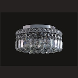 Ibiza Design 4 Light Round 12'' Flush Mount Ceiling Light Fixture Dressed with European or Swarovski Crystals SKU# 10301