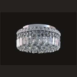 Ibiza Design 4 Light Round 14'' Flush Mount Ceiling Light Fixture Dressed with European or Swarovski Crystals SKU# 10302