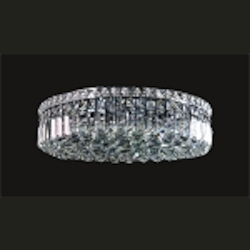 Ibiza Design 6 Light Round 20'' Flush Mount Ceiling Light Fixture Dressed with European or Swarovski Crystals SKU# 10303
