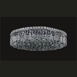 Ibiza Design 9 Light Round 24'' Flush Mount Ceiling Light Fixture Dressed with European or Swarovski Crystals SKU# 10304