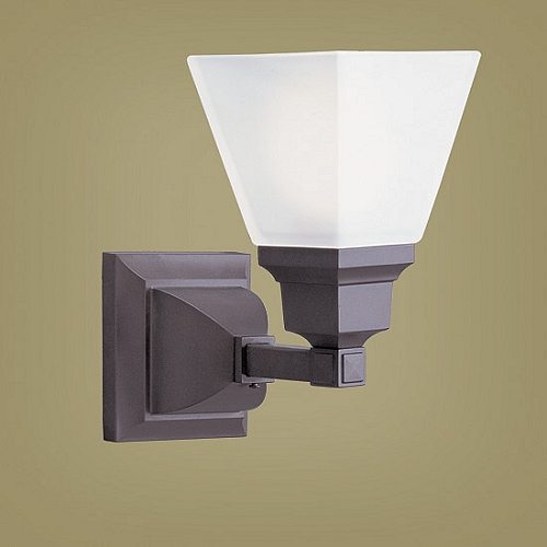 Wall Sconce Frosted Glass : Mission Collection 1-Light Frosted Glass Bronze Wall Sconce 1031-07