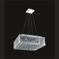 Ibiza Design 12 Light Square 20'' Adjustable Pendant Chandelier Dressed with European or Swarovski Crystals SKU# 10318