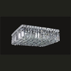 Ibiza Design 6 Light Square 16'' Flush Mount Ceiling Light Dressed with European or Swarovski Crystals SKU# 10324