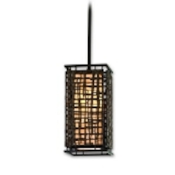"Shoji Collection 1-Light 12"" Bonsai Bronze Mini Pendant with Textured Pearl Diffuser 105-41"