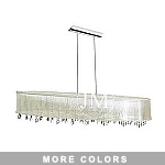 "Shaded Light Design 7-Light 52"" Chrome Crystal Linear Chandelier Pendant with an Organza Shade SKU# 10583"