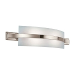 "Freeport Energy Star 2-Light 28"" Polished Nickel Bath Fixture with Etched Linear Glass 10687PN"
