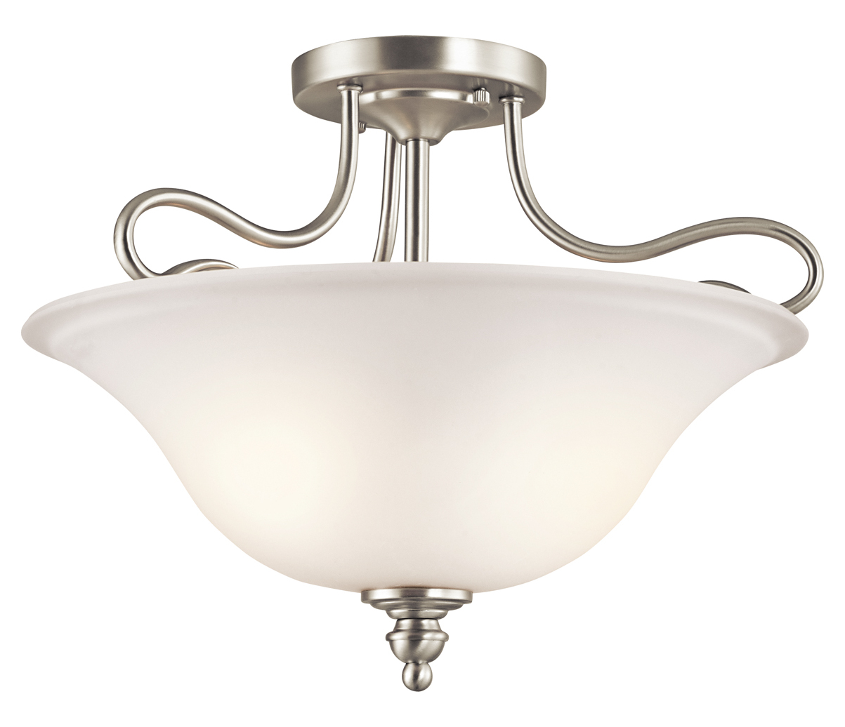 2 Light Ceiling Fixture: Kichler Brushed Nickel Tanglewood 2 Light Semi-Flush