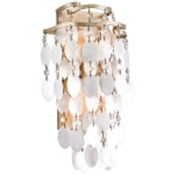 "Dolce Collection 2-Light 9"" Champagne Leaf Wall Sconce with Crystal and Capiz Shells 109-11"