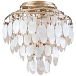 "Dolce Collection 3-Light 12"" Champagne Leaf Semi-Flush Mount with Crystal and Capiz Shells 109-33"