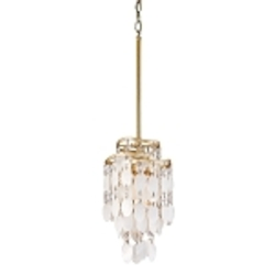 "Dolce Collection 1-Light 7"" Champagne Leaf Mini Pendant with Crystal and Capiz Shells 109-41"
