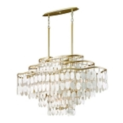 "Dolce Collection 12-Light 42"" Champagne Leaf Island Fixture with Crystal and Capiz Shells 109-512"