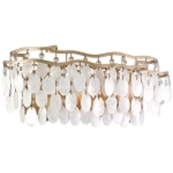 "Dolce Collection 3-Light 18"" Champagne Leaf Bath Vanity Fixture with Crystal and Capiz Shells 109-63"