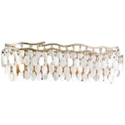 "Dolce Collection 5-Light 27"" Champagne Leaf Bath Vanity Fixture with Crystal and Capiz Shells 109-65"