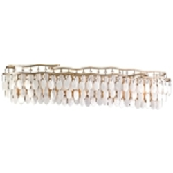 "Dolce Collection 7-Light 37"" Champagne Leaf Bath Vanity Fixture with Crystal and Capiz Shells 109-67"