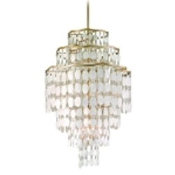 "Dolce Collection 12-Light 39"" Champagne Leaf Pendant with Crystal and Capiz Shells 109-712"