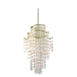 "Dolce Collection 19-Light 57"" Champagne Leaf Pendant with Crystal and Capiz Shells 109-719"