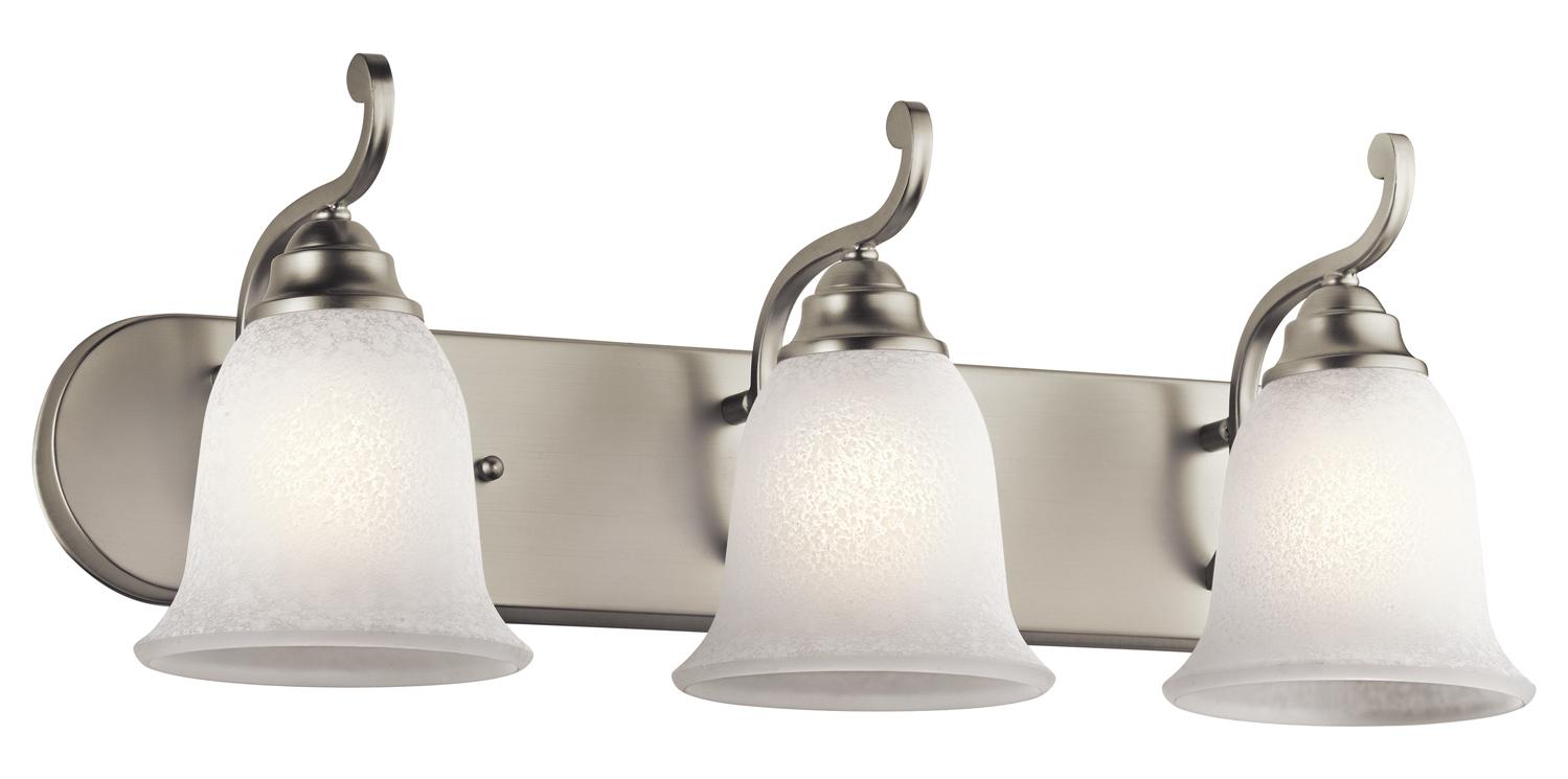 Kichler brushed nickel camerena 24in wide 3 bulb bathroom for Brushed nickel 3 light bathroom fixture