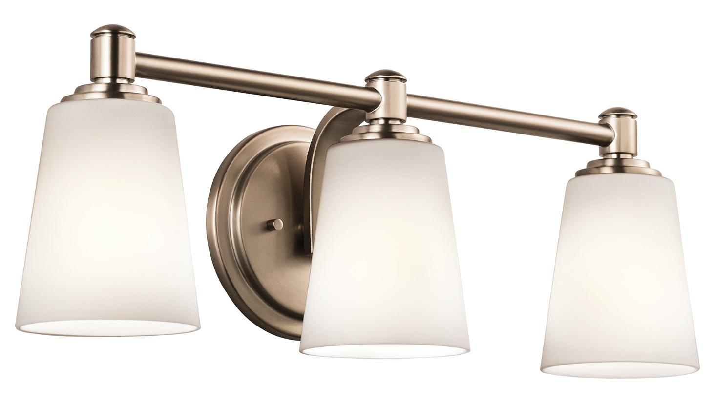 Kichler Kichler 45455clz Classic Bronze Quincy 22 Wide 3 Bulb Bathroom Lighting Fixture Classic
