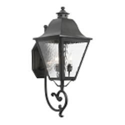 "High Falls Collection 3-Light 26"" Charcoal Wall Lantern with Water Glass 1107-C"