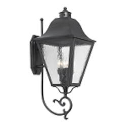 "High Falls Collection 4-Light 32"" Charcoal Wall Lantern with Water Glass 1108-C"